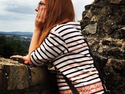 Looking out at the French countryside from a beautiful, ancient chateau.